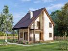 Одноэтажный жилой дом с мансардой, террасой и балконом